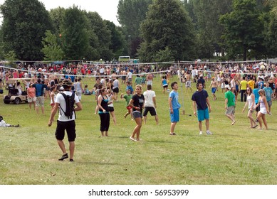 OTTAWA, CANADA - JULY 10:  The 28th annual H.O.P.E. Summerfest, largest beach volleyball tournament in the world, extends onto the grassy area of Mooney's Bay July 10, 2010 Ottawa, Ontario.