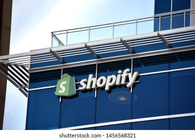 Ottawa, Canada - July 20, 2019: Shopify sign on headquarters building at 150 Elgin Street.  The Canadian e-commerce company sells software for selling products online in approxiamately 175 countries.