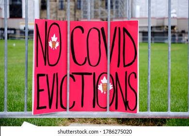 Ottawa, Canada.  July 22nd, 2020. Protesters join ACORN Canada calling for extension of Ontario rent forgiveness and eviction moratorium