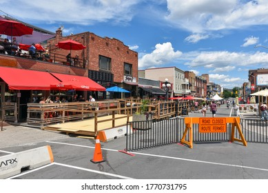Ottawa, Canada - July 5, 2020: With only patio dining in Ontario the city of Ottawa agreed to shut down Clarence St in the Market area so that patios could be expanded onto the sidewalk and street.