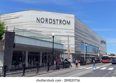 OTTAWA, CANADA - JUN 20, 2015:   The new Nordstrom store that opened in the Rideau Centre shopping mall in March, 2015.  The American upscale fashion retailer has begun expansion into Canada.