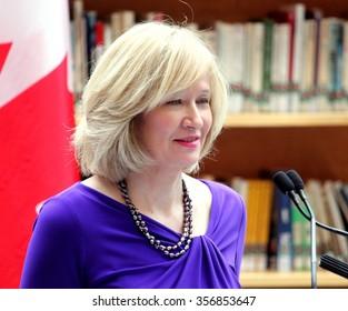 OTTAWA, CANADA - JUNE 03, 2013: Laureen Harper, wife of then Prime Minister Stephen Harper, speaks at the launch of an anti-bullying program.