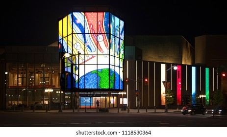 Ottawa, Canada - June 21, 2018: The National Arts Centre displays digital images of by Métis visual artist Christi Belcourt on its Kipnes Lantern, for National Indigenous Peoples Day.