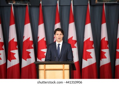 OTTAWA, CANADA - JUNE 22, 2016: Prime Minister Justin Trudeau reviews the highlights of his Liberal government's first parliamentary session.