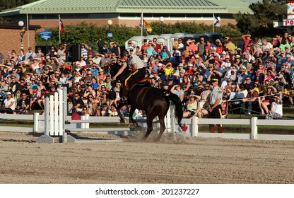 OTTAWA, CANADA - June 26, 2014 - Equestrian Abilities Show during the Royal Canadian Mountain Police (RCMP) Musical Ride Sunset Ceremonies