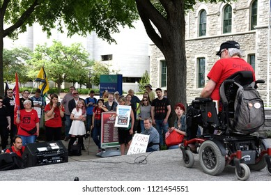 Ottawa, Canada - June, 26, 2018: Blaine Cameron of ACORN speaks to crowd at the Ford On Notice rally. Doug Ford was recently elected Premier of Ontario and many people are worried about his policies