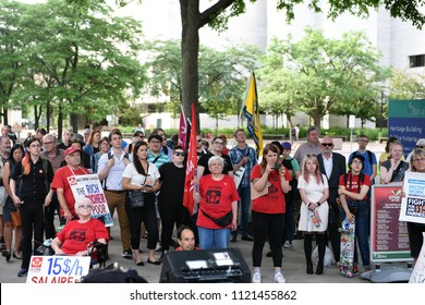 Ottawa, Canada - June, 26, 2018: Crowd at Ford On Notice rally. Doug Ford was recently elected Premier of Ontario and 9 interest groups gathered together because they are worried about his policies