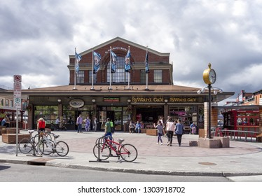 Ottawa, Canada - June 28, 2018: Front of Byward Market in Ottawa showing bikes, people and buildings around.
