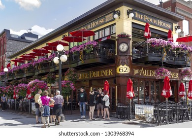 Ottawa, Canada - June 28, 2018: Irish pubs in historical buildings line the streets of the famous Byward Market in downtown Ottawa