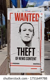 Ottawa, Canada - June 7, 2020: Sign  calling attention to the fact that Facebook has been making money off content created by journalists without permission or payment to them.