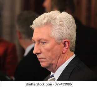 OTTAWA, CANADA - MARCH 22, 2011: Gilles Duceppe is former leader of the Bloc Quebecois, a federal political party in the House of Commons devoted to protecting Quebec's interests.