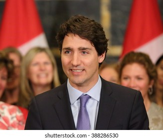 OTTAWA, CANADA - MARCH 8, 2016: Prime Minister Justin Trudeau at International Women's Day event.