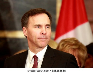 "OTTAWA, CANADA - MARCH 8, 2016: William ""Bill"" Morneau is finance minister in the Liberal government of Prime Minister Justin Trudeau."