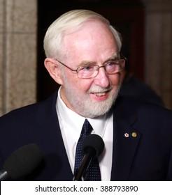 OTTAWA, CANADA - MARCH 8, 2016: Canadian Professor Emeritus Arthur McDonald is the co-winner of the 2015 Nobel Prize in Physics.