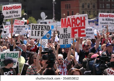 OTTAWA, CANADA - MAY 12, 2011: Thousands of anti-abortion demonstrators turn out for the annual March for Life event that begins on Parliament Hill.