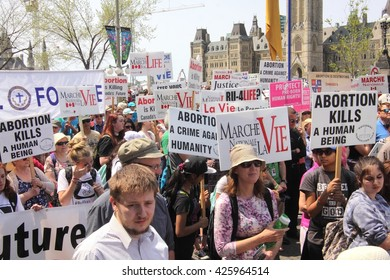 OTTAWA, CANADA - MAY 12, 2016: Thousands of anti-abortion demonstrators turned out for the annual March for Life event that began on Parliament Hill.