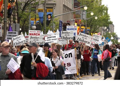 OTTAWA, CANADA - MAY 13, 2010: Thousands of anti-abortion demonstrators take part in the annual March for Life event that begins on Parliament Hill.