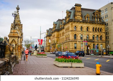 Ottawa, Canada - May 15, 2017. Old buildings at downtown in Ottawa, Canada. Queen Victoria chose Ottawa as the capital of Canada in 1857.