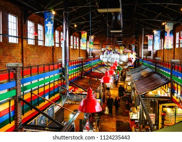 Ottawa, Canada - May 15, 2017. Interior of ByWard Market in Ottawa, Canada. The market area has been a focal point for French and Irish communities.