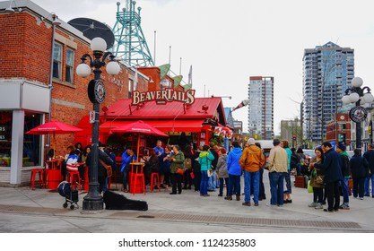 Ottawa, Canada - May 15, 2017. People waiting at coffee shop in Ottawa, Canada. Queen Victoria chose Ottawa as the capital of Canada in 1857.