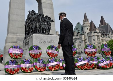 OTTAWA, CANADA - MAY 2:  A commemorative service is held to mark the anniversary of the Battle of the Atlantic at the Cenotaph War Memorial.   May 2, 2010 in Ottawa, Ontario.