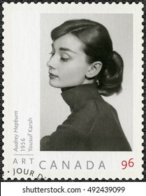 OTTAWA, CANADA - MAY 21, 2008: A stamp printed in Canada shows Audrey Hepburn (1929-1993), Actress