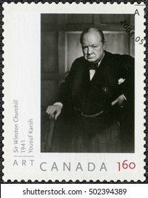 OTTAWA, CANADA - MAY 21, 2008: A stamp printed in Canada shows Sir Winston Spencer Churchill (1874-1965), politician, 2008