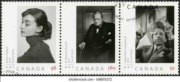 OTTAWA, CANADA - MAY 21, 2008: A stamp printed in Canada shows Audrey Hepburn, Sir Winston Churchill, and self-portrait of Yousuf Karsh, 1952, portraits  photographer by Yousuf Karsh