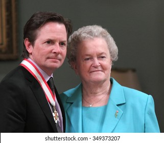 OTTAWA, CANADA - MAY 27, 2011: Canadian-born actor Michael J. Fox, star of the Back to the Future trilogy with his mother Phyllis Fox.