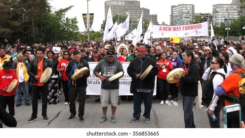 OTTAWA, CANADA - MAY 31, 2015: Thousands of people take part in the Walk for Reconciliation aimed at renewing relationships among Aboriginal peoples and all Canadians.
