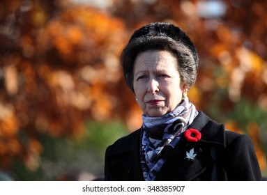 OTTAWA, CANADA - NOVEMBER 11, 2014: Princess Anne and Canadian Governor General David Johnston placed a wreath at the National War Memorial in Ottawa during her two-day visit to the city.