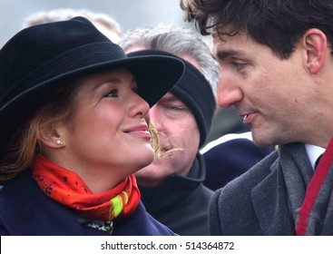 OTTAWA, CANADA - NOVEMBER 11, 2016: Canadian Prime Minister Justin Trudeau with his wife, Sophie Gregoire Trudeau, placed a wreath at the national Remembrance Day ceremony in Ottawa Nov. 11, 2016.