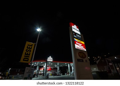 OTTAWA, CANADA - NOVEMBER 12, 2018: Petro-Canada logo in front of one of their gas stations in Ottawa, Ontario. Belonging to Suncor Energy, petro Canada is a petrol station brand spread in Canada