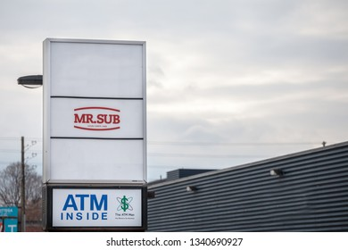 OTTAWA, CANADA - NOVEMBER 12, 2018: Mr. Sub logo in front of their local Restaurant in Ottawa, Ontario. Mr Sub is a fast food chain specialized in sandwiches and salads