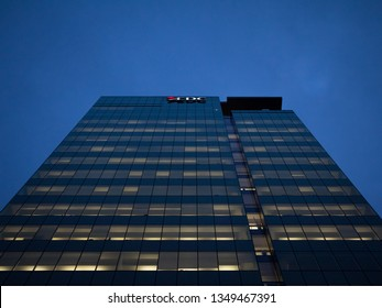 OTTAWA, CANADA - NOVEMBER 12, 2018:  EDC Logo on their main office in Ottawa at night. Export Development Canada is a state owned enterprise supporting and developping international trade & exports