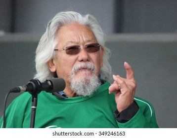 OTTAWA, CANADA - NOVEMBER 29, 2015: Canadian environmental activist David Suzuki speaks to supporters on the eve of the Paris climate summit.