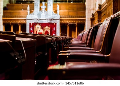 Ottawa, Canada, Oct 9, 2018: Interior of the Senate Chamber in the Canadian Parliament - inside the East Wing of Centre Block