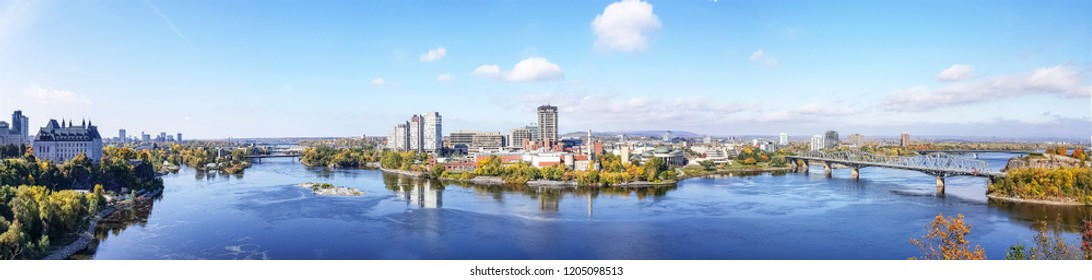 OTTAWA, CANADA - OCTOBER 10, 2018: View of the Ottawa River and Gatineau from Parliament Hill on a sunny autumn day