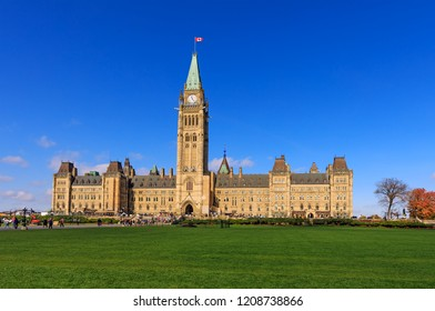 Ottawa, Canada, October 10, 2018. Parliament Hill, Ottawa, Canada, the center block and the Peace Tower. A view of the front facade of Canadian parliament tower. Canadian parliament in autumn period.