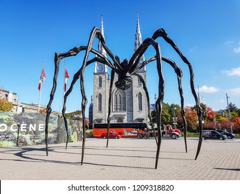 OTTAWA, CANADA - OCTOBER 10, 2018: Spider sculpture in front the National Gallery of Canada, located in the capital city Ottawa, Ontario, is one of Canada's premier art galleries.