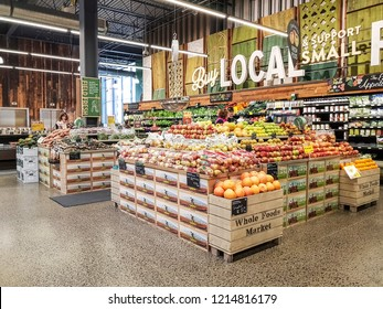 OTTAWA, CANADA - OCTOBER 10, 2018: Interior of a Whole Foods supermarket in Landsdowne, Ottawa. Whole Foods Market, Inc. is an American foods supermarket chain headquartered in Austin.