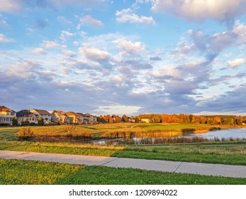 OTTAWA, CANADA - OCTOBER 10,2018: Sunset over suburban development in Nepean, Ottawa, Ontario, Canada