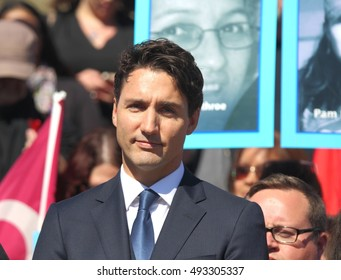 OTTAWA, CANADA â?? OCTOBER 4, 2016: Prime Minister Justin Trudeau speaks at a vigil on Parliament Hill honoring missing and murdered Indigenous women.