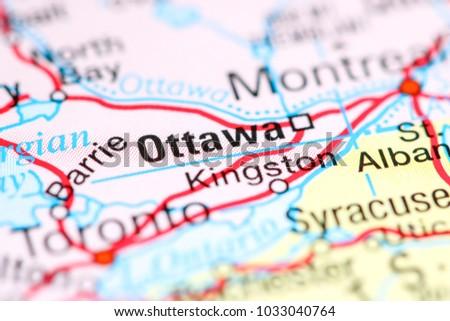 Map Of Ottawa Canada.Ottawa Canada On Map Stock Photo Edit Now 1033040764 Shutterstock
