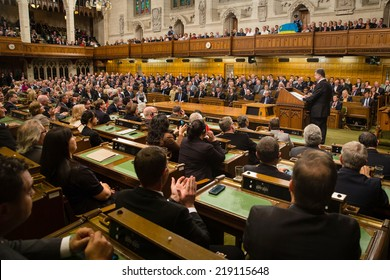 OTTAWA, CANADA - Sep 17, 2014: President of Ukraine Petro Poroshenko during the joint meeting of the House of Commons and the Senate of the Parliament of Canada in Ottawa (Canada)