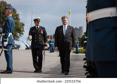 OTTAWA, CANADA - Sep 17, 2014: A solemn meeting of the President of Ukraine Petro Poroshenko during an official visit to Canada