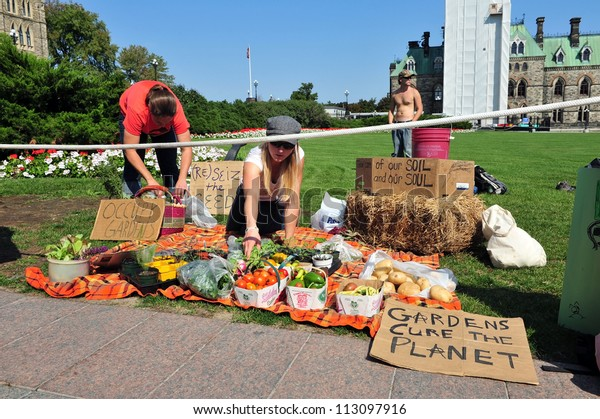 OTTAWA, CANADA - SEP 17:  Unidentified Occupy protesters set up pro-garden display at a protest to mark the anniversary of the Occupy Wall Street movement on Parliament Hill Sep 17, 2012 in Ottawa.