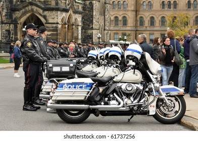 OTTAWA, CANADA - SEPT 26:  Motorcycle Policemen in attendance at the National Police and Peace Officer's Memorial on Parliament Hill.  September 26, 2010 Ottawa, Ontario.