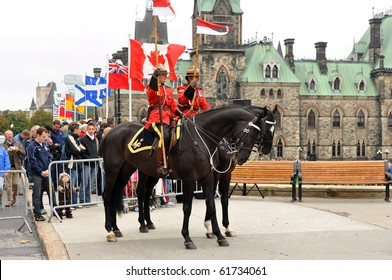 OTTAWA, CANADA - SEPT 26:  Royal Canadian Mounted Police on duty at the National Police and Peace Officer's Memorial on Parliament Hill.  September 26, 2010 Ottawa, Ontario.