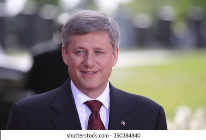 OTTAWA, CANADA - SEPTEMBER 11, 2009: Former Canadian Prime Minister Stephen Harper attends a 9-11 memorial service at Beechwood national cemetery.